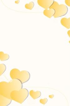 Herz verzierter rand gelber hintergrund