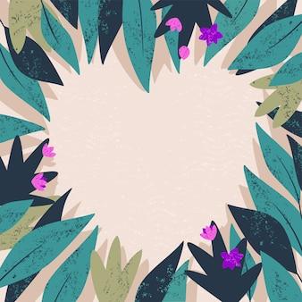 Herz von tropischen blättern mit blühender blumenillustration