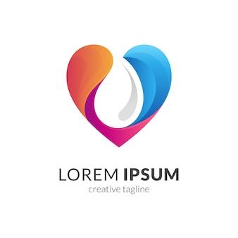 Herz wassertropfen logo vorlage design isoliert