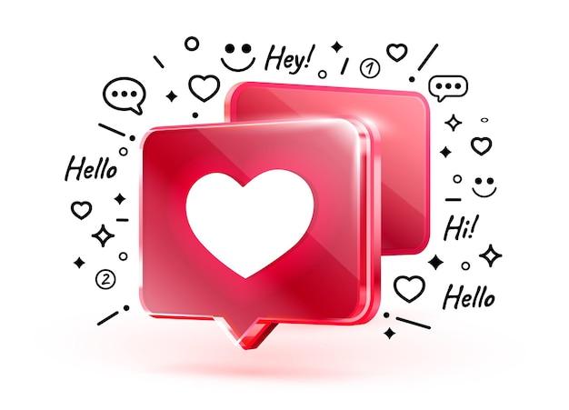 Herz wie symbol zeichen follower d banner liebe post social media vektor