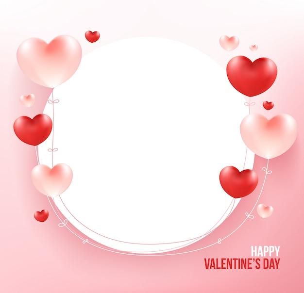 Herzballone auf weißem kreisrahmen.