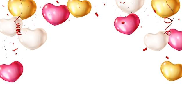 Herzballons und konfetti-designillustration.