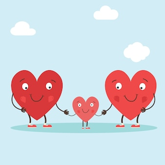 Herzcharaktere als symbole für liebe und familie