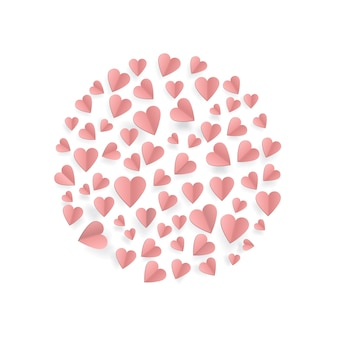 Herzen auf abstraktem liebeshintergrund mit papierschnittherzen