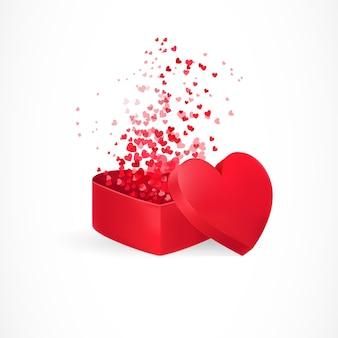 Herzen fliegen aus der kiste