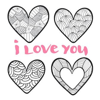 Herzen im zentangle-stil