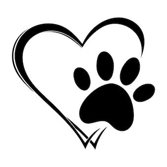 Herzen mit den pfoten von hunden und katzen pfotenabdrücke hund liebeshunde Premium Vektoren