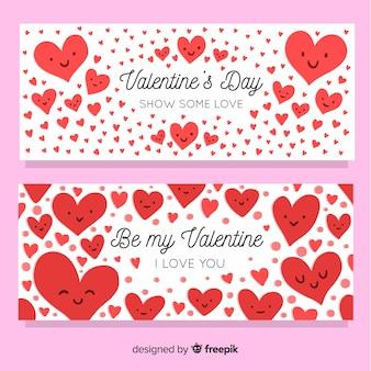 Herzen mit gesichtern valentine banner