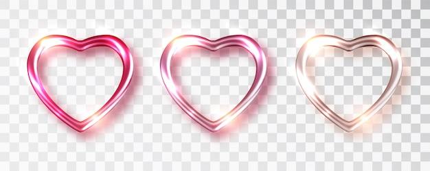 Herzen setzen schattierungen der rosa farbe für valentinstagdesign
