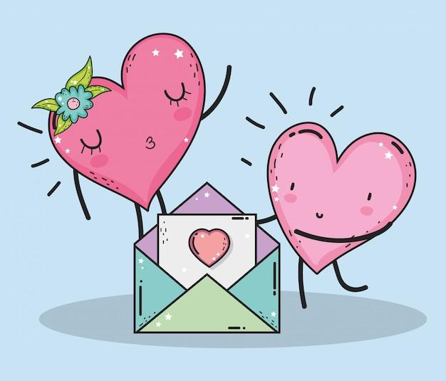 Herzen verbinden sich mit liebeskarte zum valentinstag