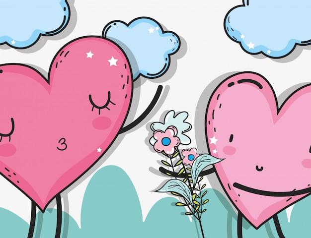 Herzen verbinden sich mit wolken und blumen