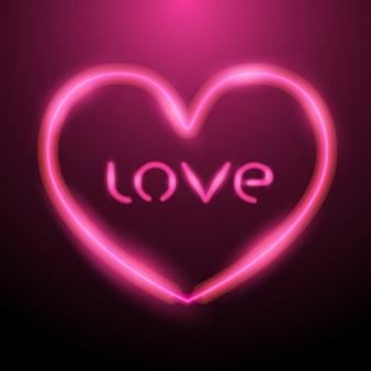 Herzentwurf mit rosa neonlicht und buchstabenliebe nach innen