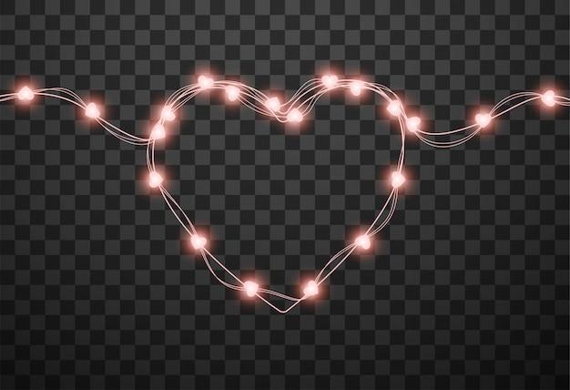 Herzförmige glühbirnen an girlanden