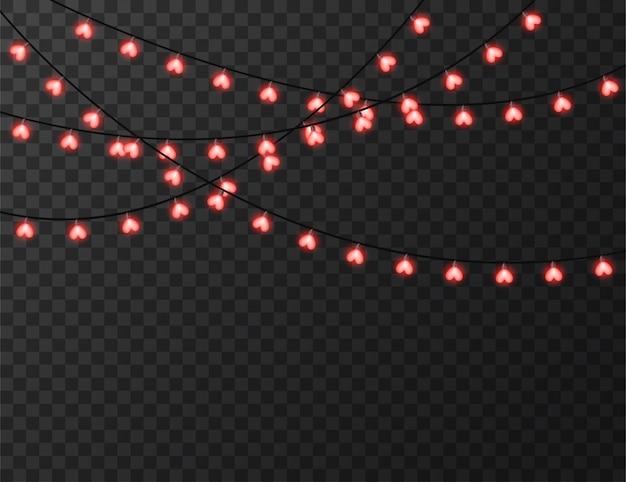Herzförmige lichter isoliert auf transparent