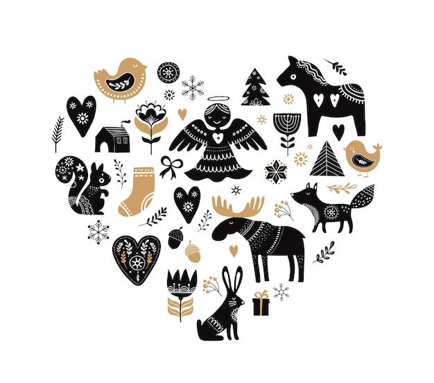Herzförmige sammlung von weihnachtsillustrationen und handgezeichneten elementen im skandinavischen stil