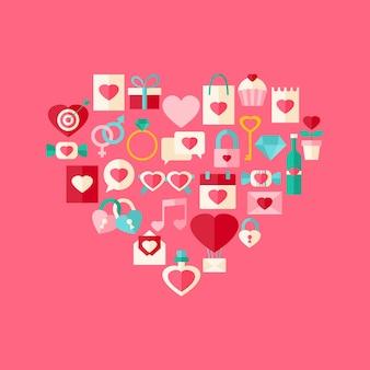 Herzförmige valentinstag flache icon-set. flaches stilisiertes objektset