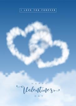 Herzförmige wolken am blauen himmel. liebes- und valentinsgrußkonzept.