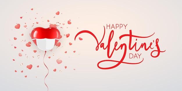Herzförmiger ballon mit maske. valentinstag auf neue normalität