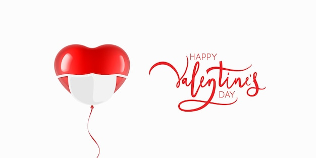 Herzförmiger ballon mit maske. valentinstagskarte designillustration