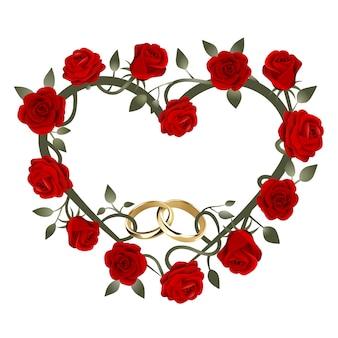 Herzförmiger rahmen mit roten rosen und goldenen eheringen