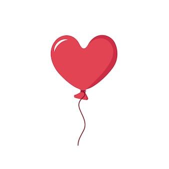 Herzförmiger roter ballon. symbol und dekoration für valentinstag, hochzeit, urlaub. flache vektorgrafik auf weißem hintergrund