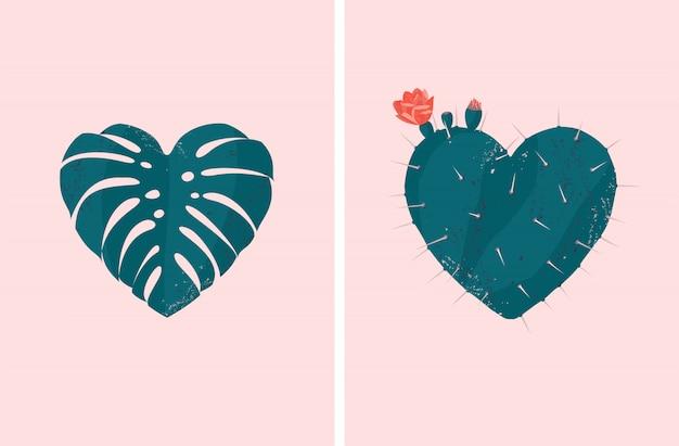 Herzförmiger tropischer pflanzensatz des vektors des monstera-blattes und des blühenden kaktus