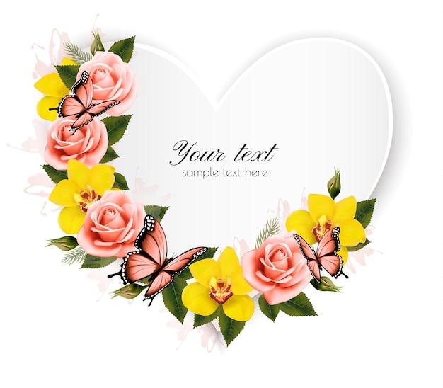 Herzförmiges banner mit rosen und gelben orchideen. vektor.