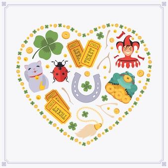 Herzförmiges dekorationsdesign aus glücksbringern