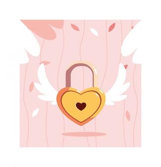 Herzförmiges sicherheitsvorhängeschloß mit flügeln, valentinstag