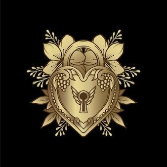 Herzförmiges vorhängeschloss im luxuriösen vintage-gravurstil mit schnörkelverzierung.