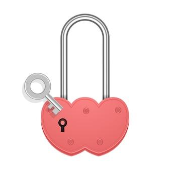 Herzförmiges vorhängeschloss mit schlüssel