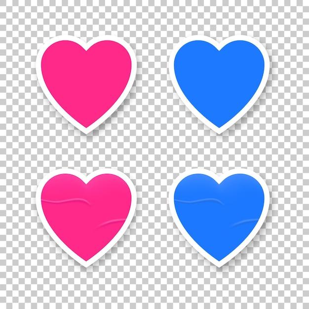 Herzform aufkleber vektor rosa und blau, valentinstag liebe leeres design klebrige leere etikettensammlung illustration.