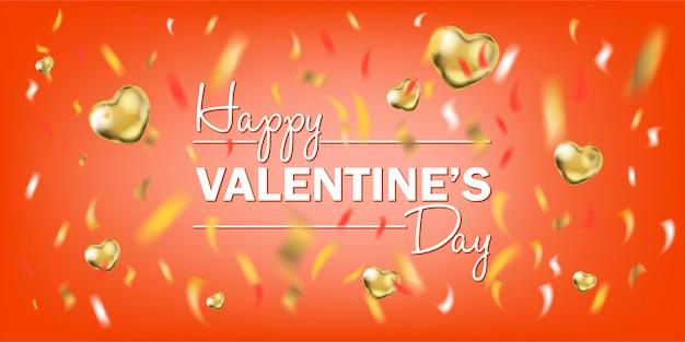 Herzform-ballone und glückliche valentinstag-beschriftung mit konfettis