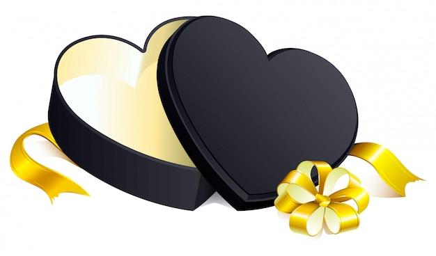 Herzform des offenen kastens des schwarzen geschenks