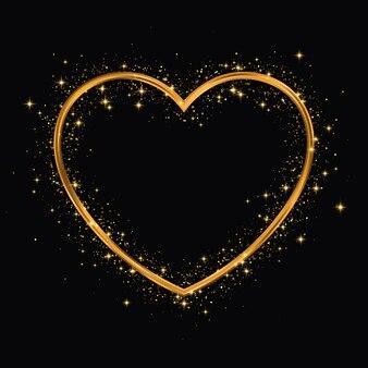 Herzform gold glitter rahmen.