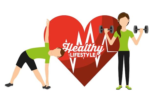 Herzfrequenz mann und frau sport aktivität gesunden lebensstil