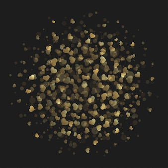 Herzfunkeln beleuchtet goldene arthintergrund-vektorillustration.
