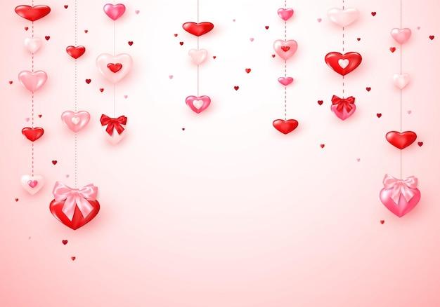 Herzgirlanden. romantische hintergrundherzen des valentinstags mit seidenschleifen.