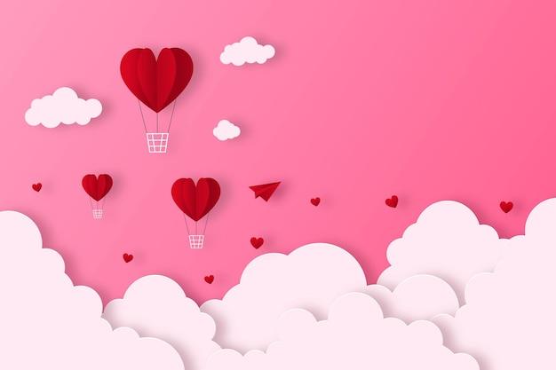 Herzheißluftballon niedlicher valentinstaghintergrund