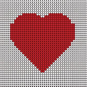 Herzillustrationsstickerei auf gewebemuster