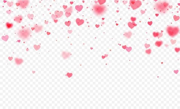 Herzkonfettis, die auf transparenten hintergrund fallen. valentinstagskarte
