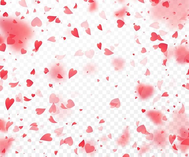 Herzkonfettis, die auf transparenten hintergrund fallen.