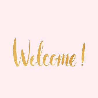 Herzlich willkommen! handschriftlicher typografie-vektor