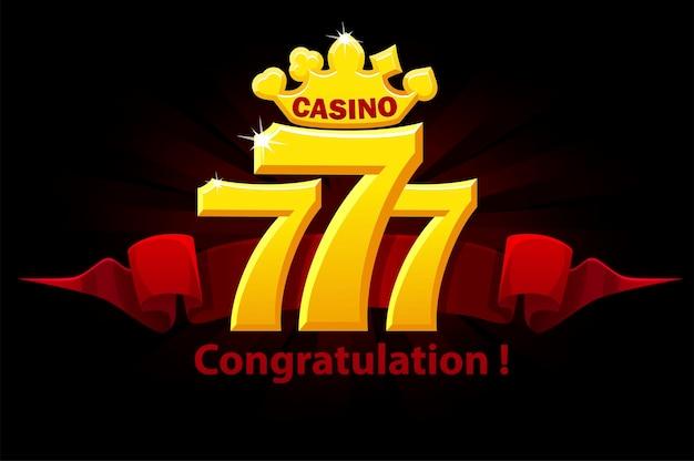 Herzlichen glückwunsch 777 slots, jackpot-zeichen, goldenes glücksspiel-emblem für spiele. vektorillustrationsfahne mit rotem preisband in den spielautomaten.