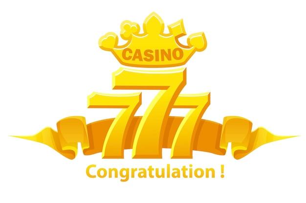 Herzlichen glückwunsch 777 slots, jackpot-zeichen, goldenes glücksspiel-emblem für ui-spiele