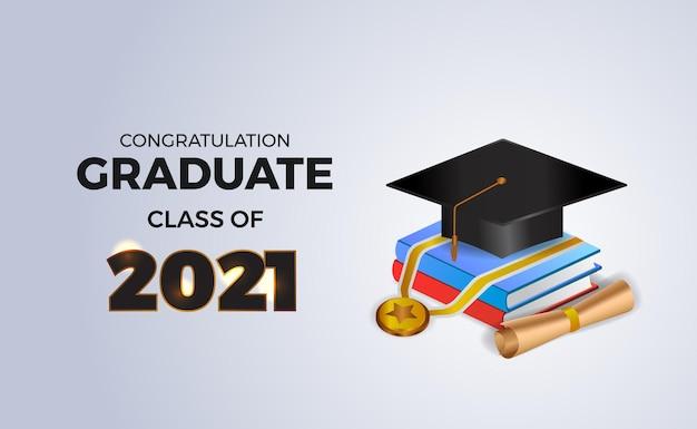 Herzlichen glückwunsch abschlussklasse von 2021 mit isometrischem 3d-buch und abschlusskappenhut und medaille