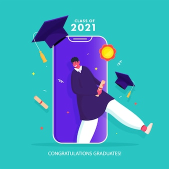 Herzlichen glückwunsch absolventen class of 2021 based poster design