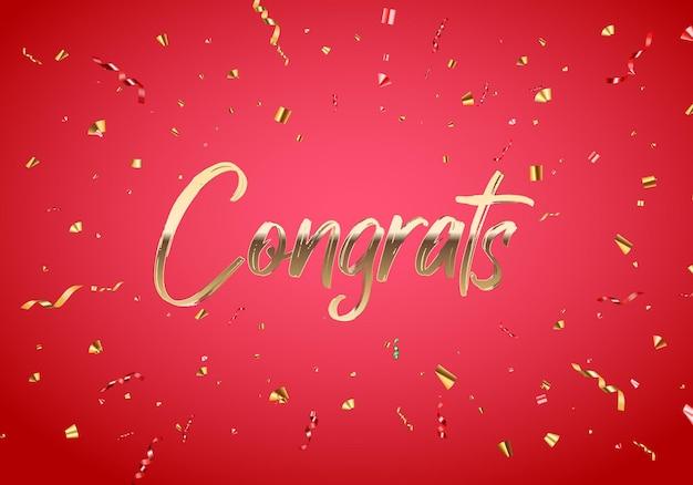 Herzlichen glückwunsch banner design mit confetti und glossy glitter ribbon