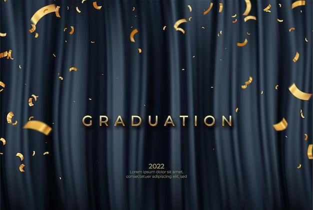 Herzlichen glückwunsch graduiertenschablone mit goldenen bändern und konfetty auf schwarzem vorhanghintergrund.