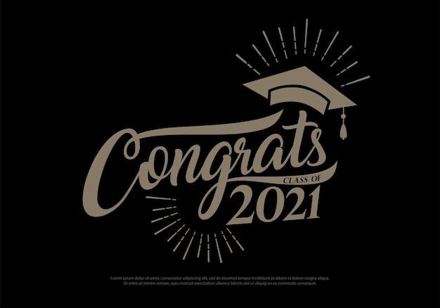 Herzlichen glückwunsch klasse der absolventen 2021 vintage-konzept schwarzgold-abschlusslogokollektion im retro-stil